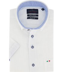 korte mouwen overhemd linnen portofino wit