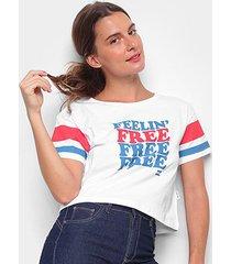 camiseta cropped billabong felling free feminina
