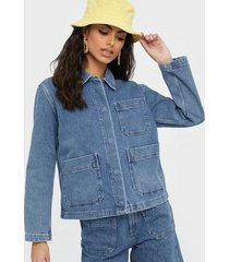selected femme slfmartha mid blue denim jacket w jeansjackor