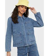 selected femme slfmartha mid blue denim jacket w jeansjackor