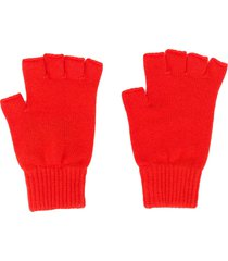 pringle of scotland fingerless cashmere gloves - orange