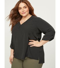 lane bryant women's 3 button popover soft shirt 26 black