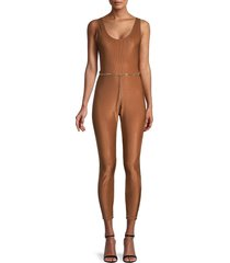 weworewhat women's belted stretch moiré jumpsuit - brown - size m