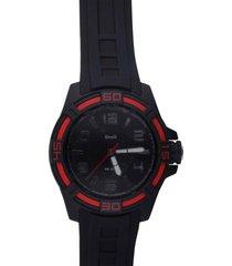 stockholm – orologio so fancy 3h nero e rosso con cinturino nero per uomo