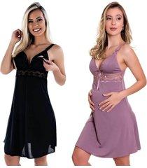 kit 2 camisola amamentação estilo sedutor em microfibra 1 preta e 1 lilás - es206-v47