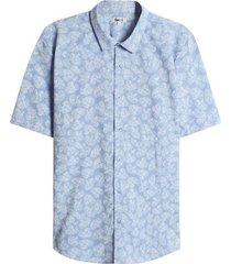 camisa hojas color azul, talla l