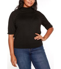 belldini black label plus size puff sleeve mock neck sweater