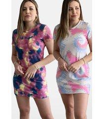 kit 2 vestidos tie dye camisã£o roxo/areia - roxo - feminino - algodã£o - dafiti