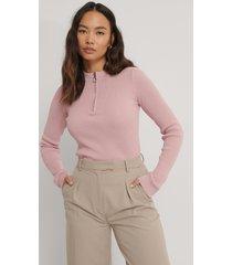 na-kd återvunnen stickad tröja med dragkedja - pink