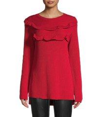 redvalentino women's ruffle cotton sweater - cherry - size s