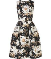 oscar de la renta floral-print a-line tulip dress - black