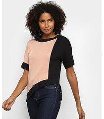 blusa acostamento assimétrica bicolor feminina