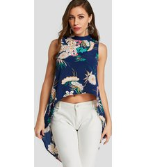 yoins blue button keyhole design floral print stand collar sleeveless blouse