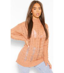 open knit high neck sweater, tan