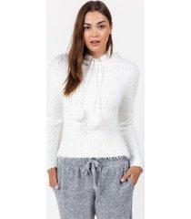faun hooded popcorn sweater - ivory