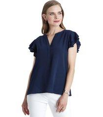 blusa manga con vuelos azul lorenzo di pontti