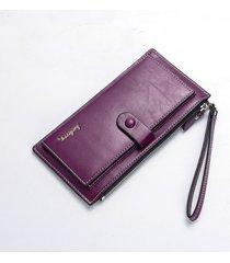gran capacidad cartera para mujer/ hebilla de cuero-púrpura