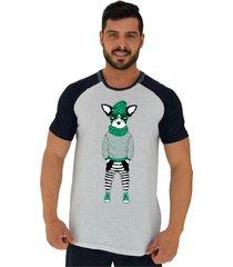 camiseta tradicional gola redonda alto conceito bulldog francãªs estiloso hipster alvejado preto - cinza - masculino - algodã£o - dafiti