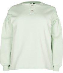 river island womens plus green diamante button sweatshirt