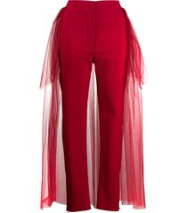 loulou tulle panelled slim-fit trousers - red