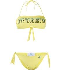 alberta ferretti printed bandeau bikini - yellow