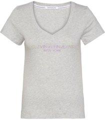 camisetas iridescent logo v-neck t-shirt gris calvin klein