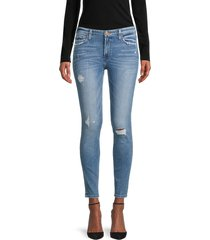 flying monkey women's mid-rise distressed ankle skinny jeans - blue - size 25 (2)