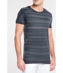 camiseta ckj listras pinceladas long - preto - p