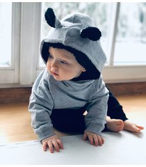 bluza hoodie miś szara z czarnym