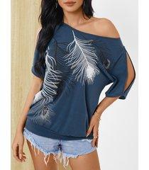 yoins camiseta de manga corta con hombros fríos y estampado de plumas azul marino