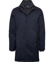 twill coat w detachable collar dunne lange jas blauw lindbergh