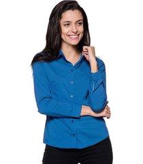 camisa intens manga longa algodão turquesa