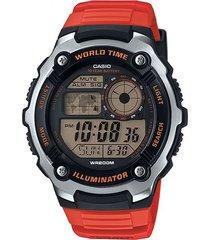 reloj casio ae_2100w_4av rojo resina