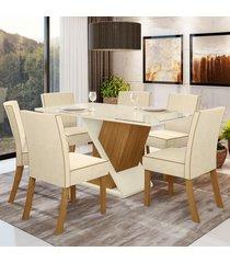 mesa de jantar 6 lugares luana nature/off white/linho - bci móveis
