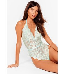 womens lace stay together plunging high-leg bodysuit - mint