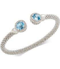 blue topaz (4-1/2 ct. t.w.) & diamond (1/3 ct. t.w.) mesh cuff bracelet in sterling silver