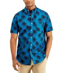 club room men's regular-fit palm-print shirt, created for macy's