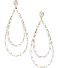 adriana orsini women's goldtone & cubic zirconia double oblong drop earrings