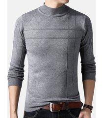 maglioni a maniche lunghe da uomo a maniche lunghe con collo alto e maglione a collo alto