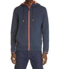 men's boss men's saggy zip hoodie, size x-large - blue