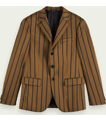 scotch & soda single-breasted gestreepte blazer van een katoenmix
