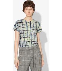 proenza schouler tie dye short sleeve t-shirt lime/cobalt/white xs