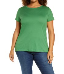 plus size women's halogen jersey crewneck shirt, size 1x - green