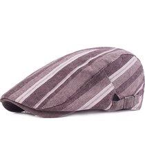 berretto da uomo a righe in lino a righe cappello berretto da viaggio casual parasole in avanti gorras planas boina