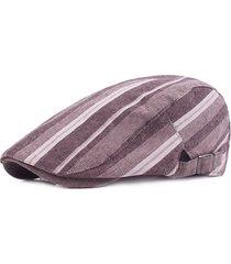 cappello a berretto a righe in lino per donne uomo casual travel sunshade forward caps gorras planas boina