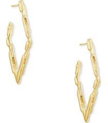 kendra scott diamond-shape textured open hoop earrings