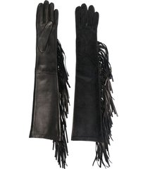 manokhi long fringe-detail gloves - black