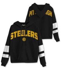 authentic nfl apparel pittsburgh steelers women's sideline striped fleece hoodie
