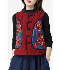 cappotto senza maniche della maglia della rana cinese stampato donne stile folk