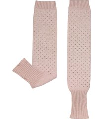 julia cocco' designer women's gloves, pink knitted arm warmers long fingerless gloves w/thumb hole
